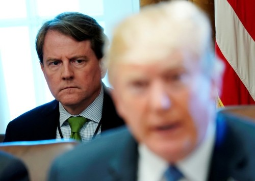U.S. Justice Dept: ex-White House counsel McGahn has 'immunity from testifying'