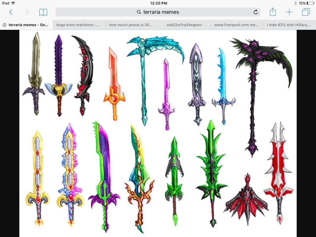 This is what certain weapons in terraria would look like in real life