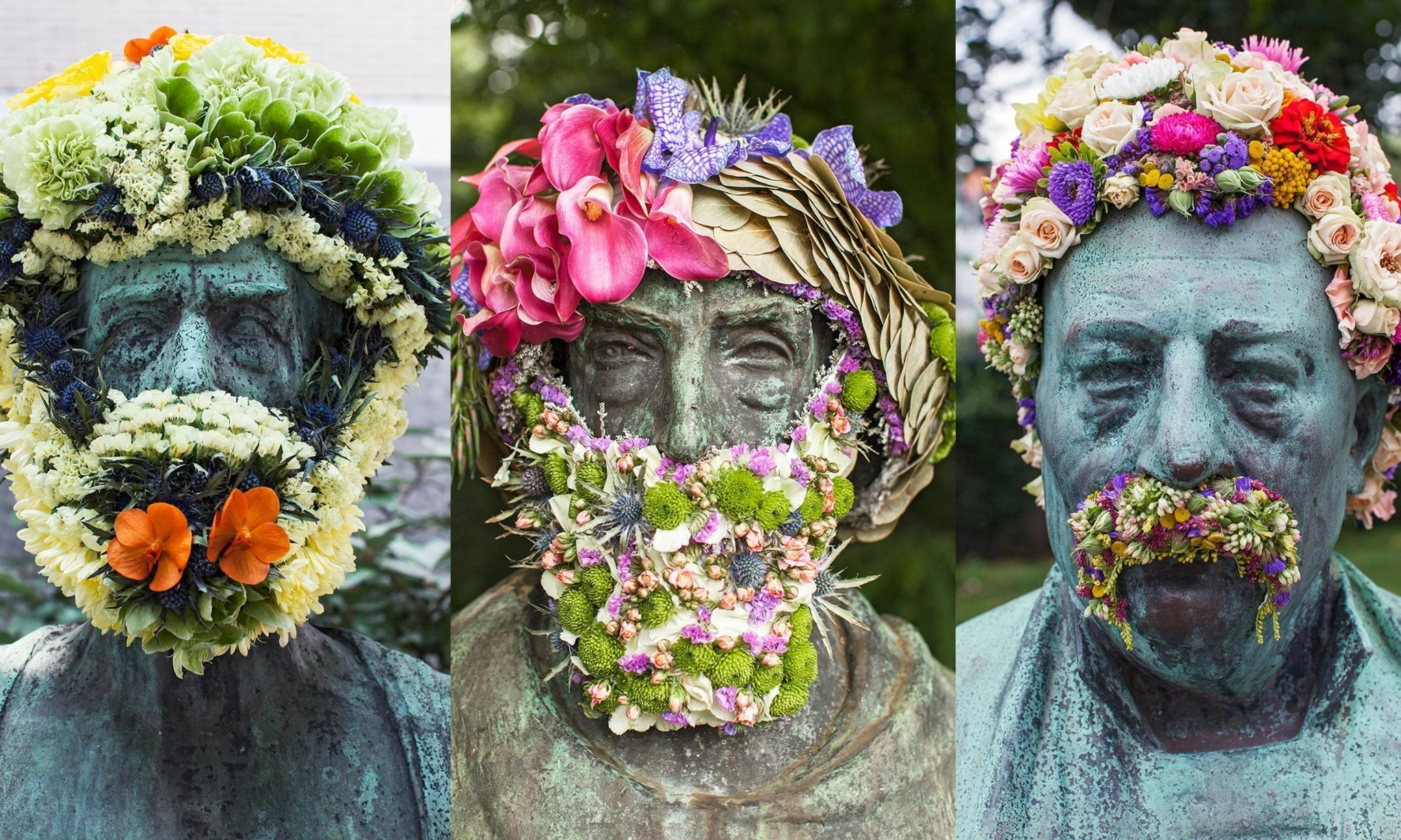 Floral fixation: blooming Belgian statues – in pictures