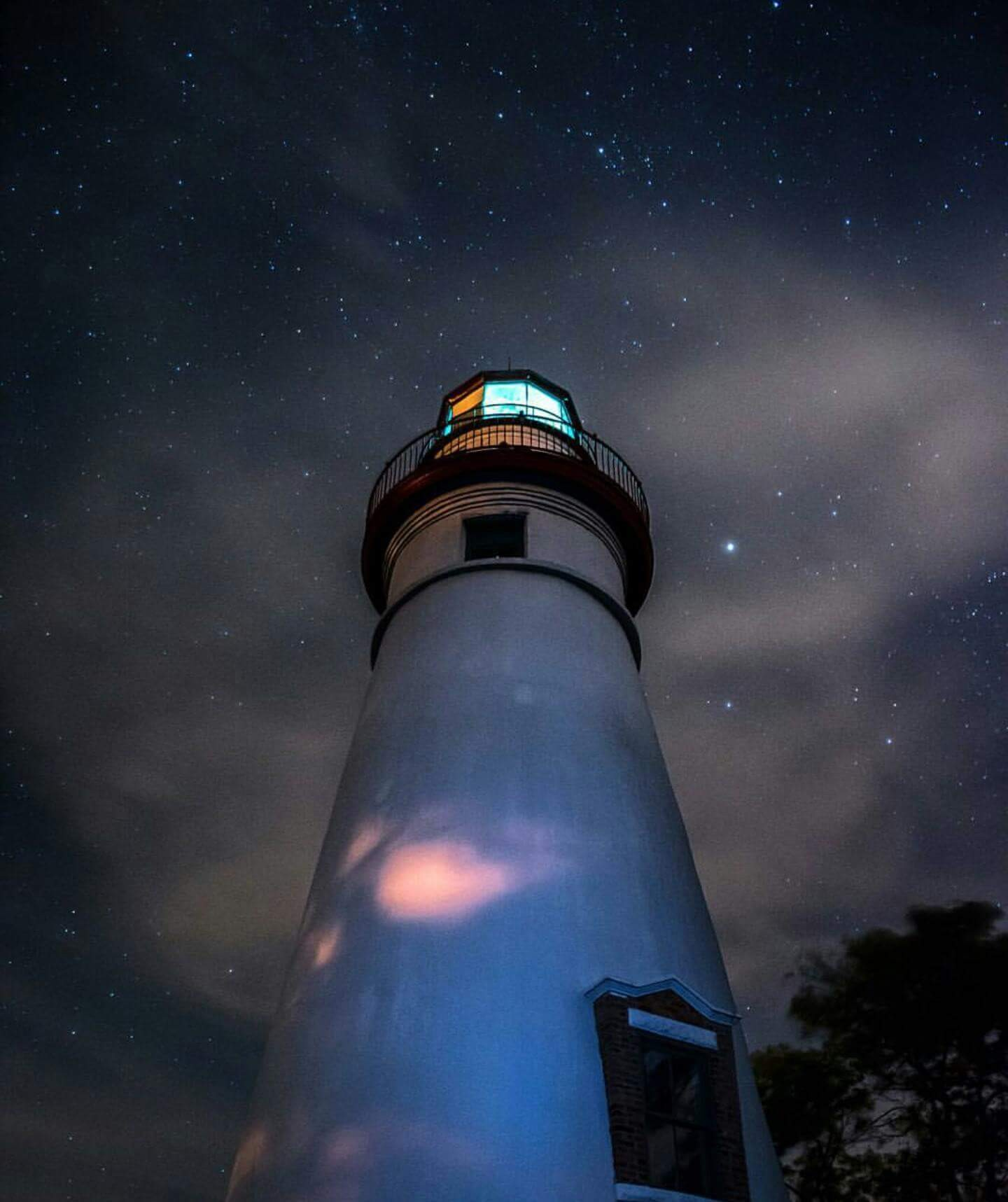 This is actually Marblehead Ohio...but the lighthouse on a very starry night!