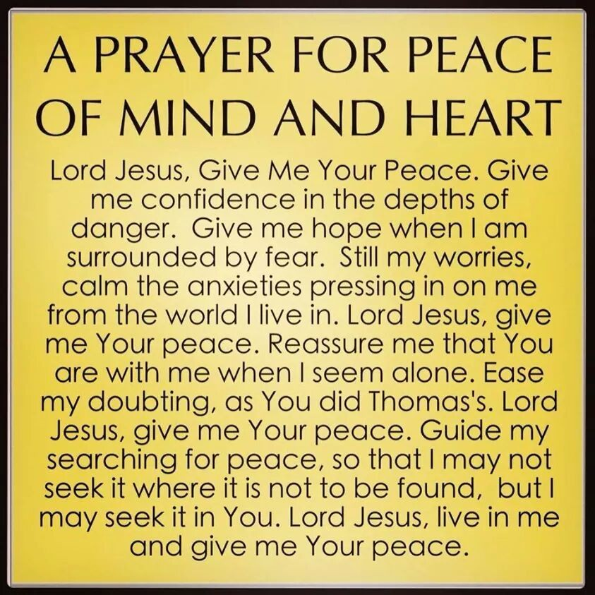 A Prayer for Peace of Heart and Mind