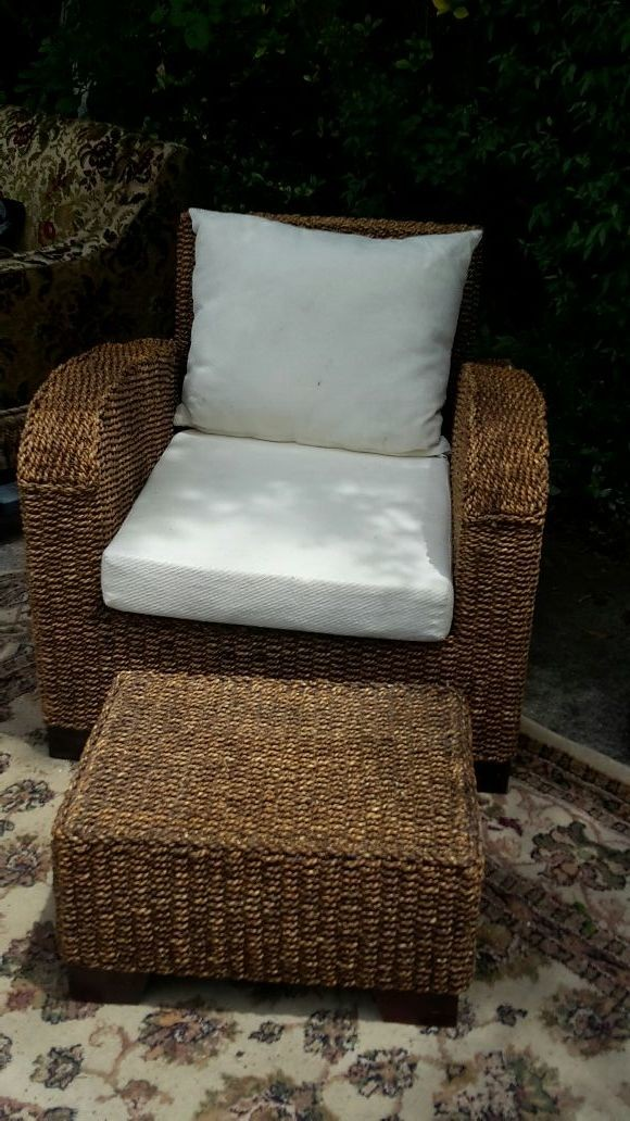 Sea grass chair and ottoman with white cushions