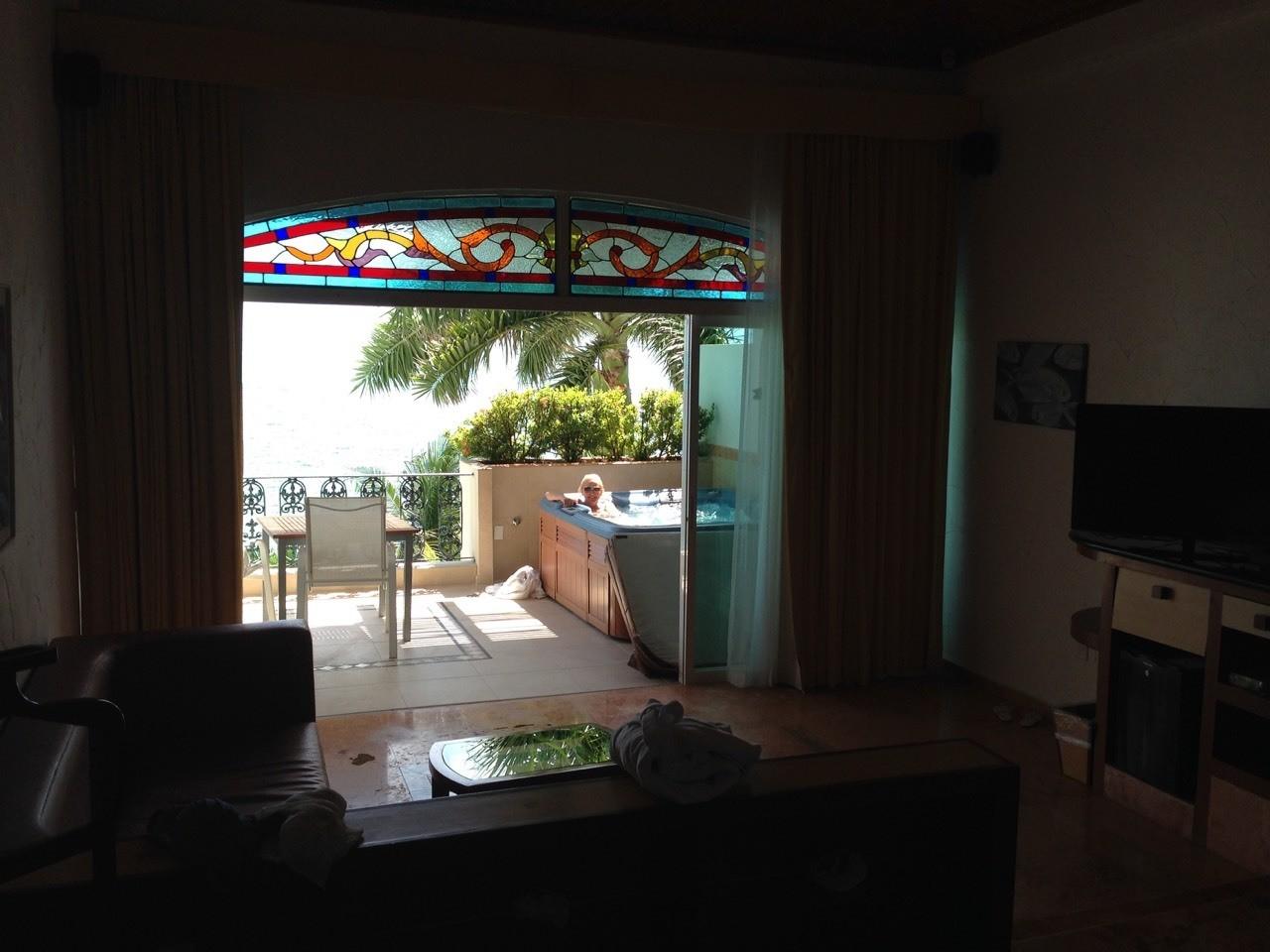 Our balcony with a private hot tub at Villa Rolandi