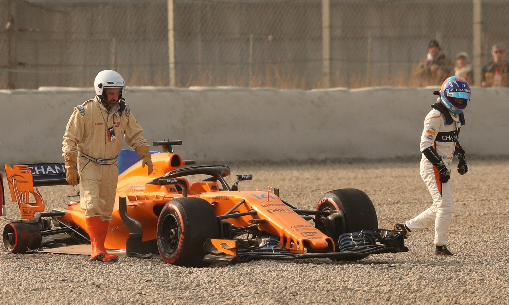 Fernando Alonso spins off as McLaren suffer on day one of F1 testing
