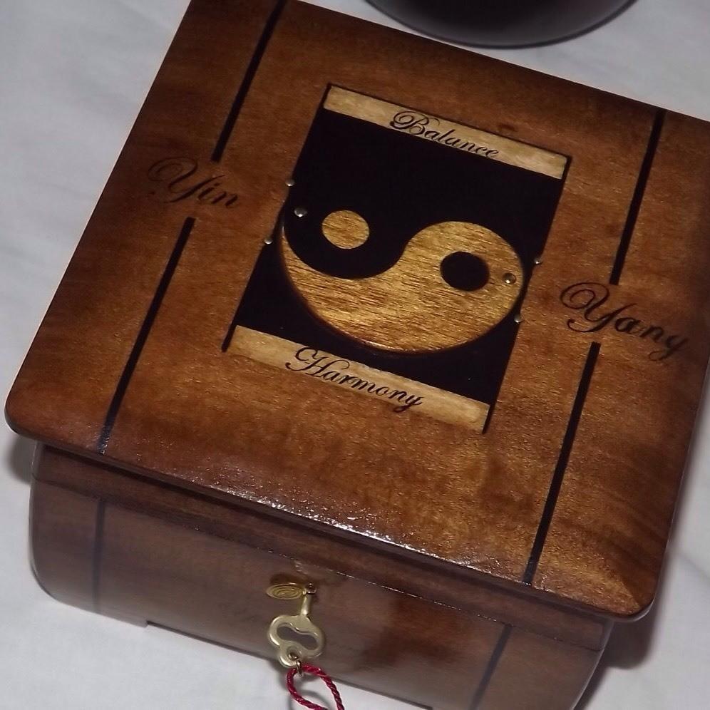 solid wood Yin Yang lockable box.