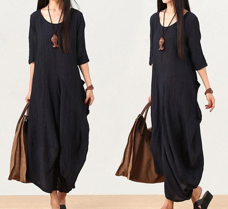 women linen dress maxi dress / Summer dress /Loose dress/short sleeve dress/Irregular dress/Loose Fitting dress(Bust>110CM)