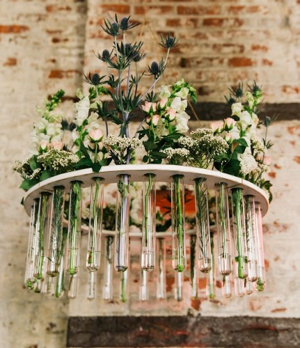 Wooden Test Tube Flower Chandelier- Weddings, Garden Parties, Rustic Weddings, As seen at The Not Wedding NYC and on Ruffled Blog