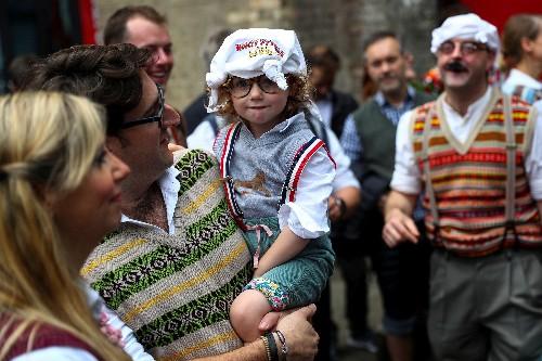 Monty Python fans, handkerchiefs on heads, gather to mark anniversary
