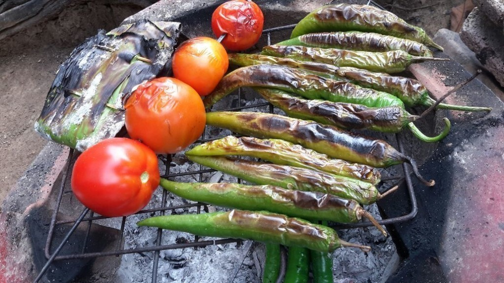 Preparing for Namprik Noom : Green Chilli Dip ,Northern Thai Dish
