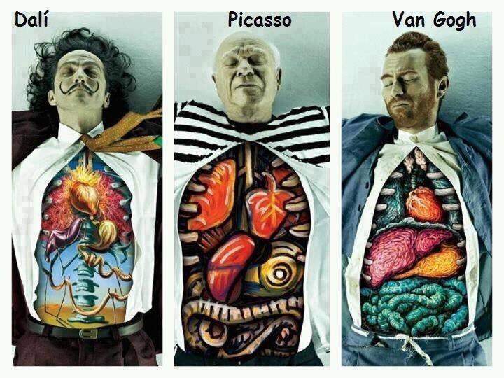 Dali, Picasso və Van Gogh'un orqanları Bu iş kreativ reklam agentliyi olan DDB Brazil tərəfindən Museu de Arte de São Paulo (MASP) İncəsənət Məktəbi üçün hazırlanıb. Gördüyünüz kimi, burada dünya şöhrətli rəssamları unikal edən daxili aləmləri əks olunub. MASP İncəsənət Məktəbi üçün reklam kompaniyası Salvador Dali, Pablo Picasso və Vincent van Gogh'un daxili aləmlərini onların öz əsərlərindəki üslubda əks etdirərək belə nadir istedadın da məhz daxildən gəldiyini ifadə ediblər. Bu, incəsənətə marağı olanları həvəsləndirərək məktəbə cəlb etmək üçün yaradılıb. Firuzə
