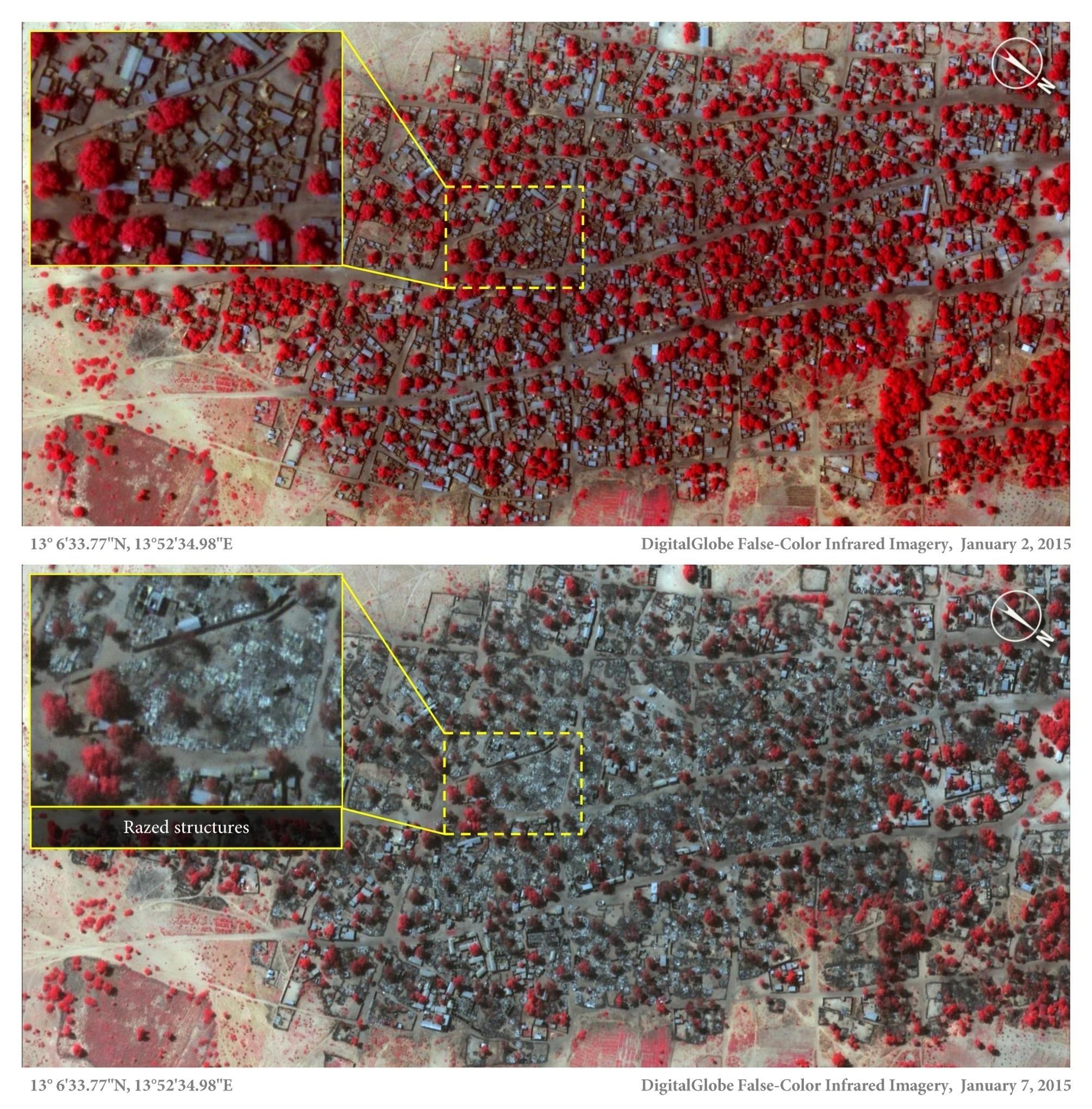 Satellite images reveal devastation of Boko Haram massacre in Nigeria
