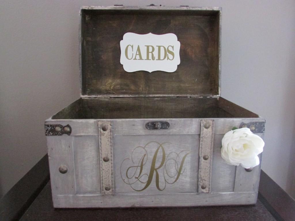 Vintage Wedding Card Box, Rustic Wedding Card Box, Large Vintage Trunk Wedding Box with Custom Wedding Monogram, Money Card Box, Card Holder