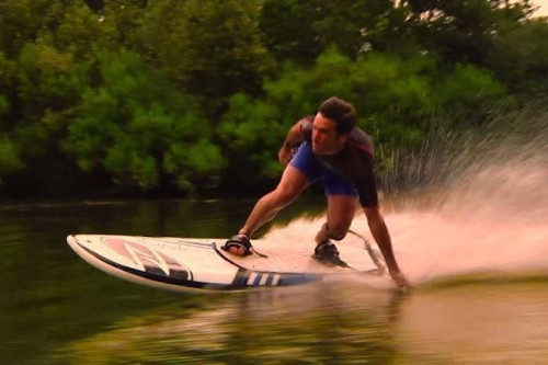 These electric powered surfboards can surf on flat water