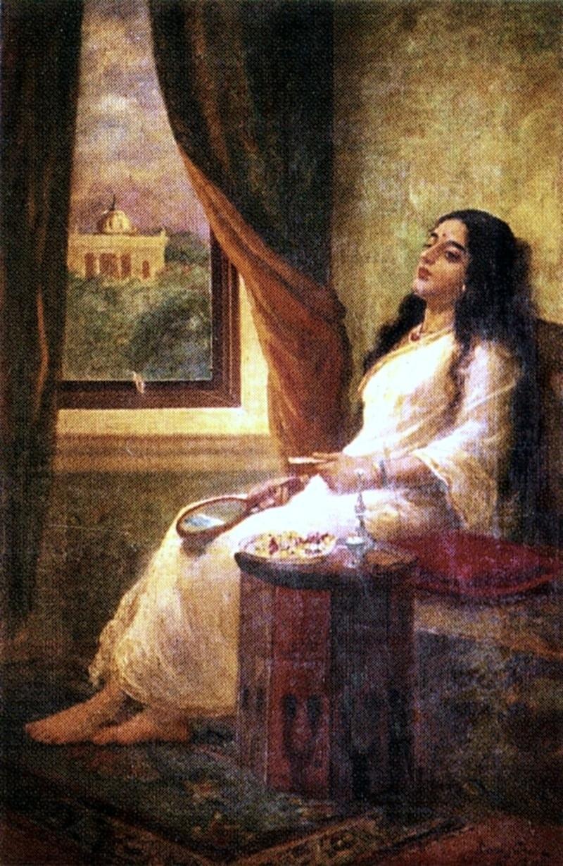 'In Contemplation', Painting by Raja Ravi Varma, Indian, 1848 - 1906