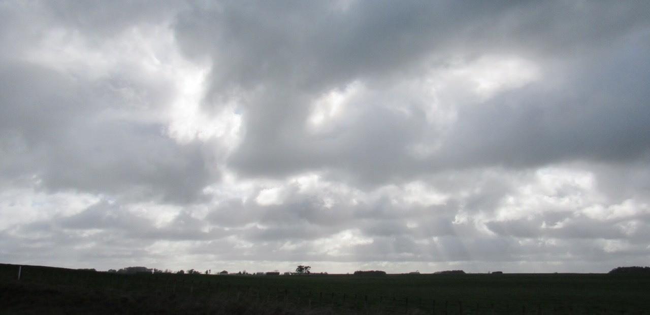 Turbulent skies above Manawatu farmland