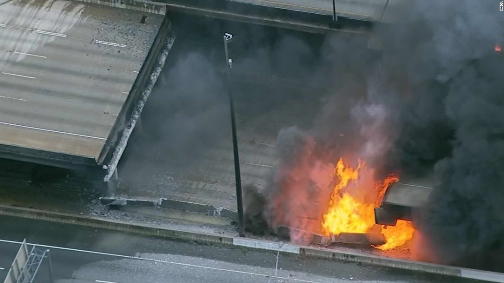 I-85 fire: Section of Atlanta highway collapses