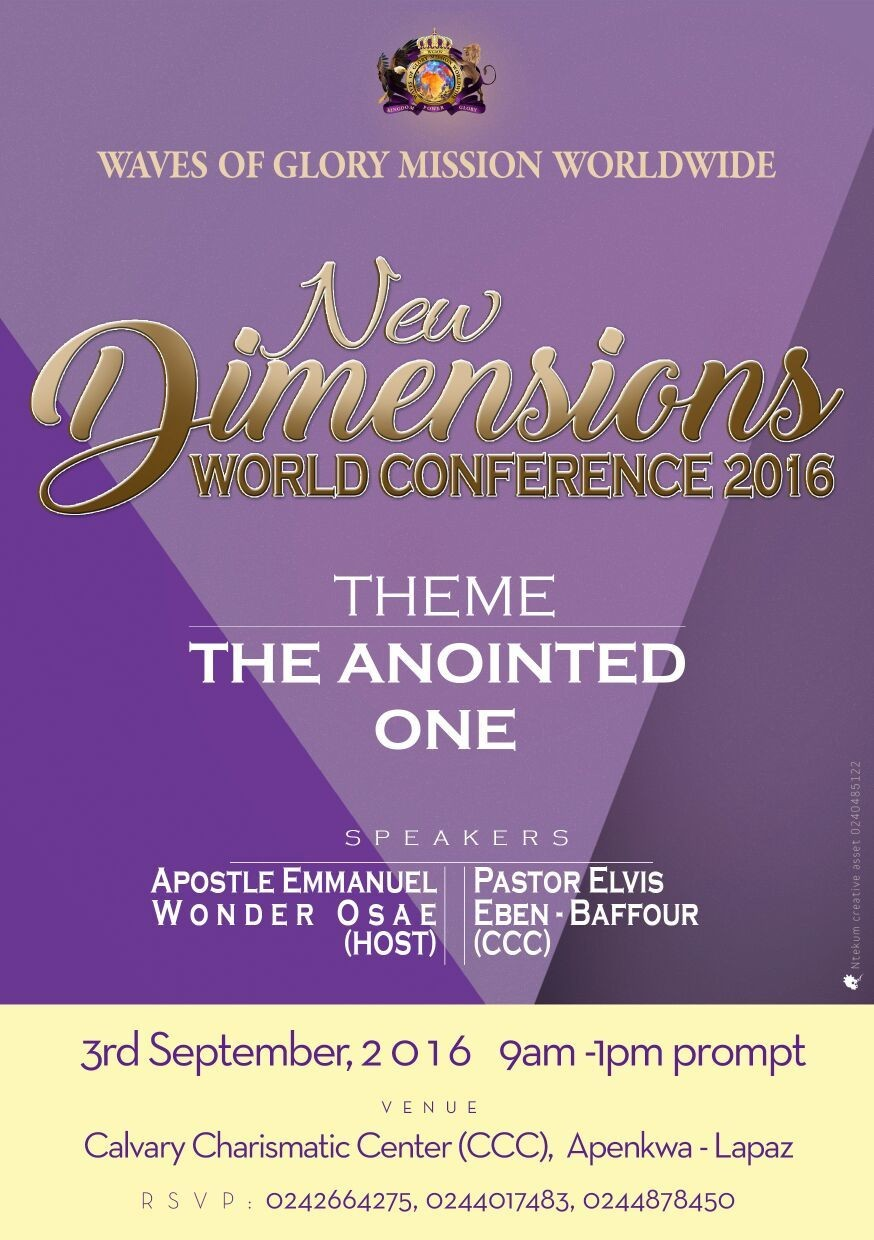 New Dimensions World Conference Theme:The Anointed One #GHCE #GHCE1 #SeptemberEvents ⛪CCC Lapaz 📅3/9 #GodIsGood