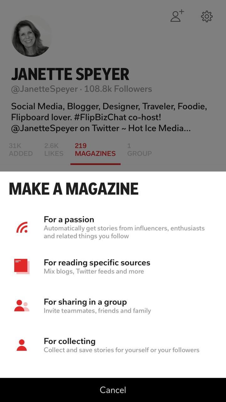 Creating a new Flipboard magazine