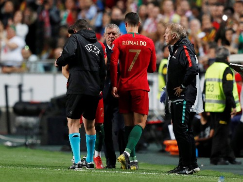Soccer: Ronaldo limps off in Portugal qualifier