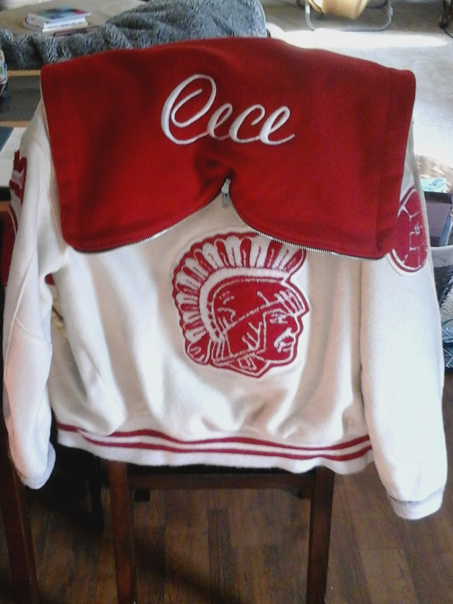 My high school letterman jacket... this is my 2004 jacket from the national honors student and math club volleyball and tennis club member.... I went by the name Cece then it was an incredible nickname...