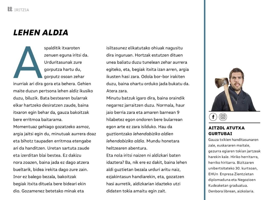 Instituturakoak - Magazine cover