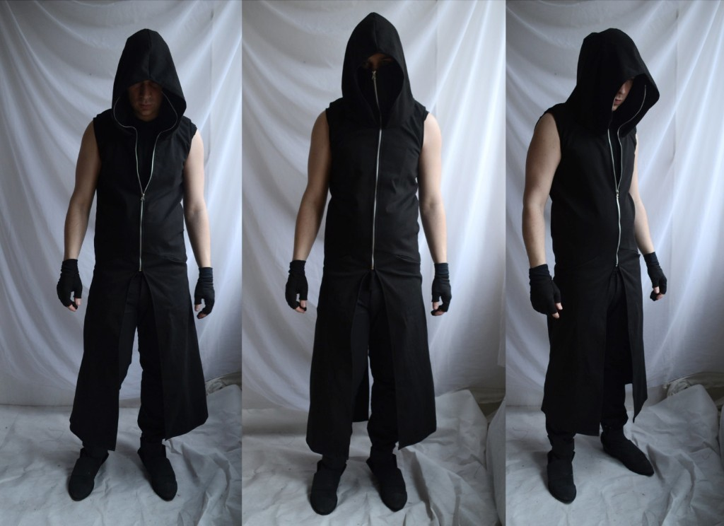Sinister Sleeveless Hoodie ( long mens black dark sleeveless coat hunter hero trench cyberpunk gothic industrial post apocalyptic fashion)