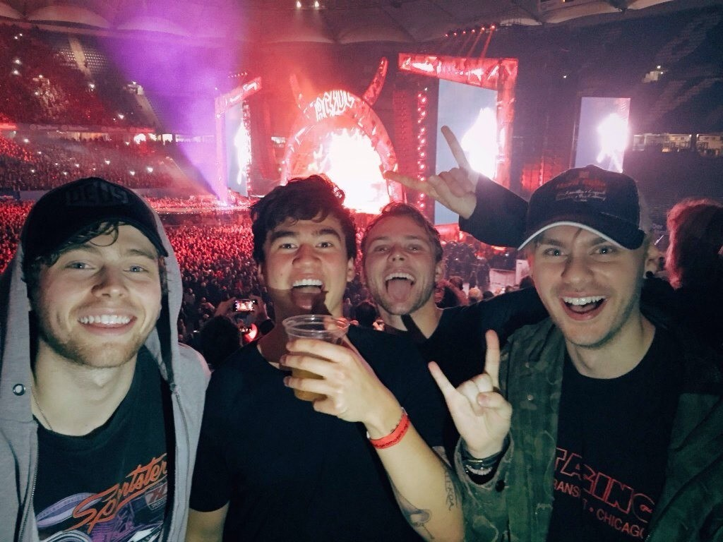 """HUHUHU OMG so I had this dream where for some reason Sel and I were with 5sos in this kind of house/studio thing. I think they were supposed to be watching over us for a while I remember we jammed like, once. Ashton was so good at his drums ;( I was their vocalist OFNFNSJ Then they all went their separate ways. Ashton went upstairs, Calum went out to some kind of lobby, (which was right in front of our room) idk where the hell Luke went and then Mikey went down to some kind of basement in our room. Then Lolo was there and told me to sit down on one of the sofas. He sat across from me and asked me who went outside and I actually got confused about Mikey and Cal for a minute. Then I told him it was Calum. Lolo left. I walked over to the staircase where Sel was sitting. She was holding a piece of paper and reading something on it. I was just about to ask what it was when suddenly, I saw this weird black and yellow insect flying towards her slowly. I was freaking out on the inside like wtf it was like a spider with WINGS So I said """"..what is that"""" but she wasn't even freaking out yet wtf. Then in the corner of my eye I thought it was Mikey coming up from the basement but it was actually Joe (a character in Under the Dome) (POGI) I even remember he was wearing a plain black tshirt lol. So Sel was just looking at me weirdly while Joe stood next to me. We both watched as it slowly flew down and laNDED RIGHT THERE ON SEL'S PAPER AND THEN SHE SCREAMED AND RAN I was just there and then suddenly the insect came towards me and I was like oH SHIT NO and I was trying to run away from it bUT THEN IT STARTED SPRAYING SOME KIND OF POISONOUS LIQUID AT US I was screaming and ducking at the same time and I shouted at Joe to fucking help me but he was trying to get away too. I ran over to him and hid hehind his back and he led me across the room to some kind of bedroom Then the time skipped, Joe was gone but the fucking insect was still flying. It was in the bedroom and I was with my re"""