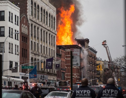 Building Fire and Collapse in New York: In Pictures