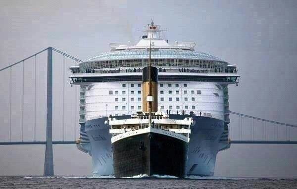 """Difference in theTitanic and the largest cruise ship """"Allure of the Sea"""""""