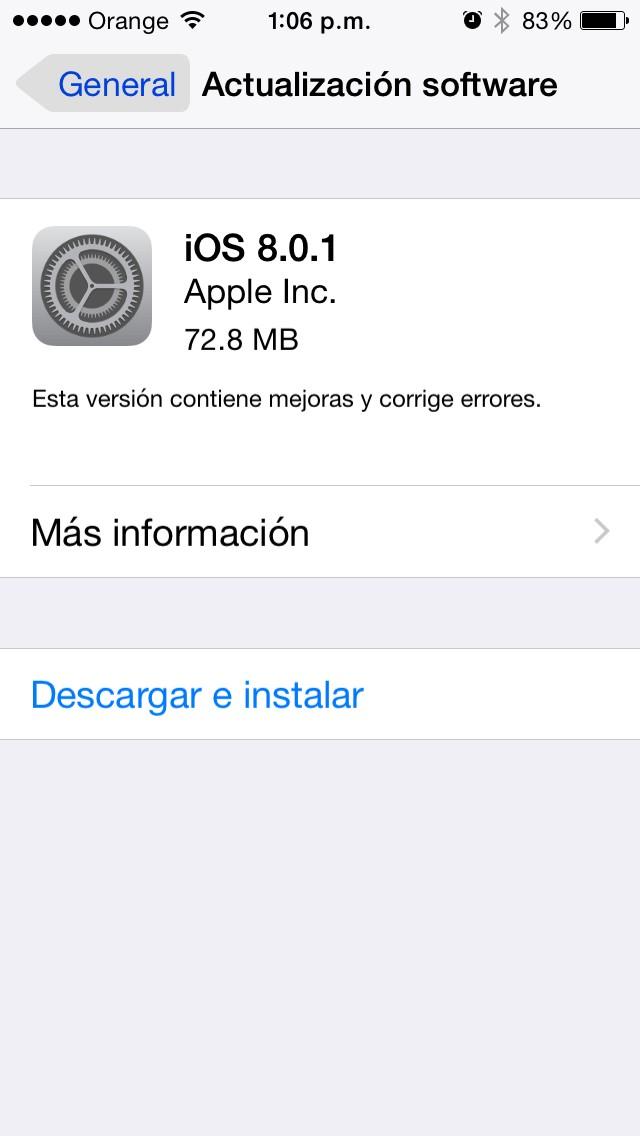 Apple público la actualización de iOS 8.0.1 para todos los dispositivos iPhone, iPad, etc.