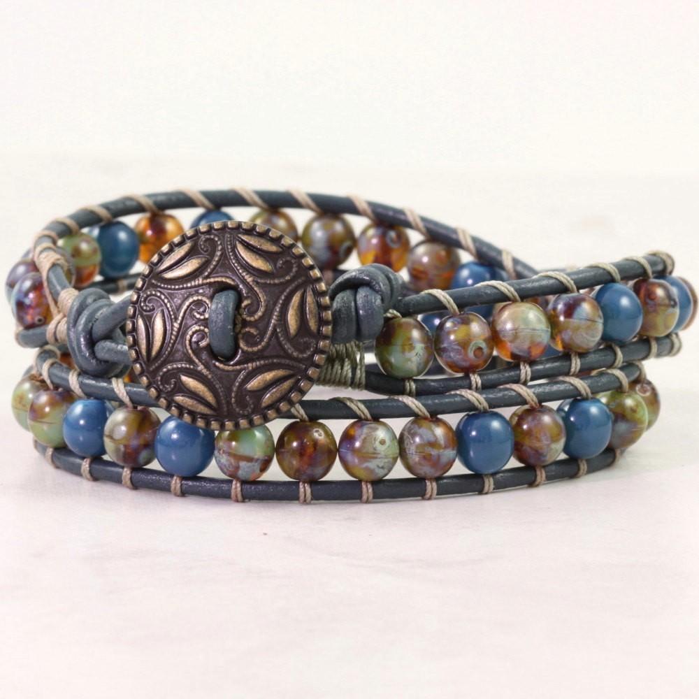 Sage Green Bracelet, Blue Leather Wrap Bracelet, Czech Glass Jewelry, 3rd Anniversary Gift
