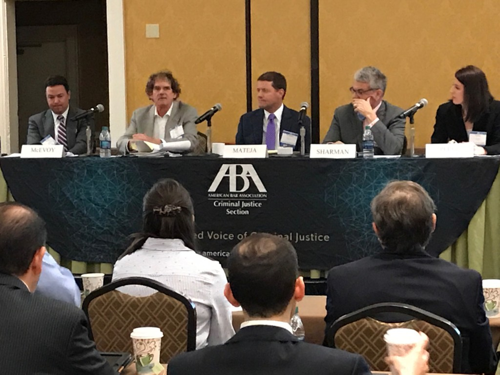 Sharman looking thoughtful on public corruption panel at @ABACJS Southeastern White Collar Crime Institute.