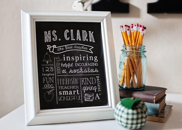 """Teacher Gift - """"The Best Teacher"""" Chalkboard Style Printable Digital File 8x10 JPG File"""