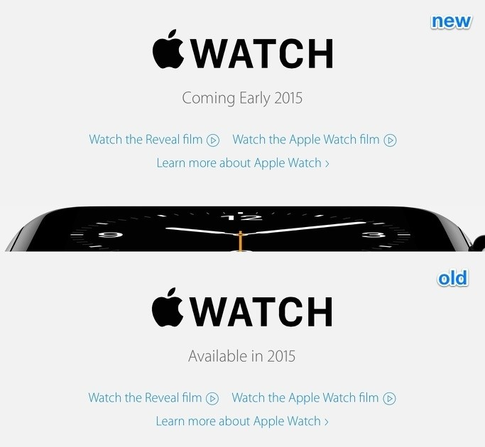 Apple now says Watch 'coming early 2015′ for several European countries on its website, matching US release window (updated)