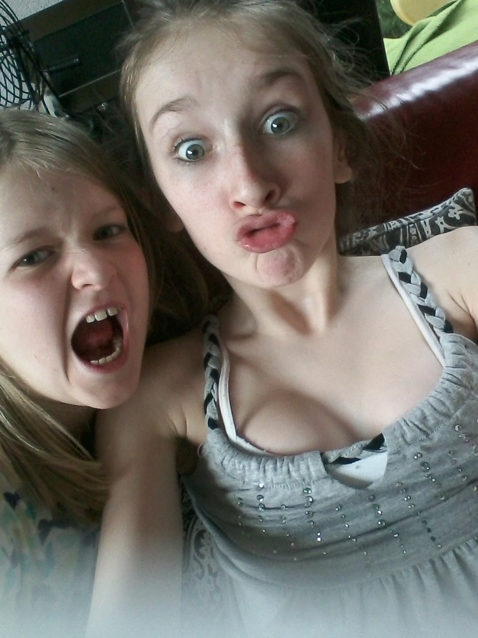 Just acting weird with sis ♥