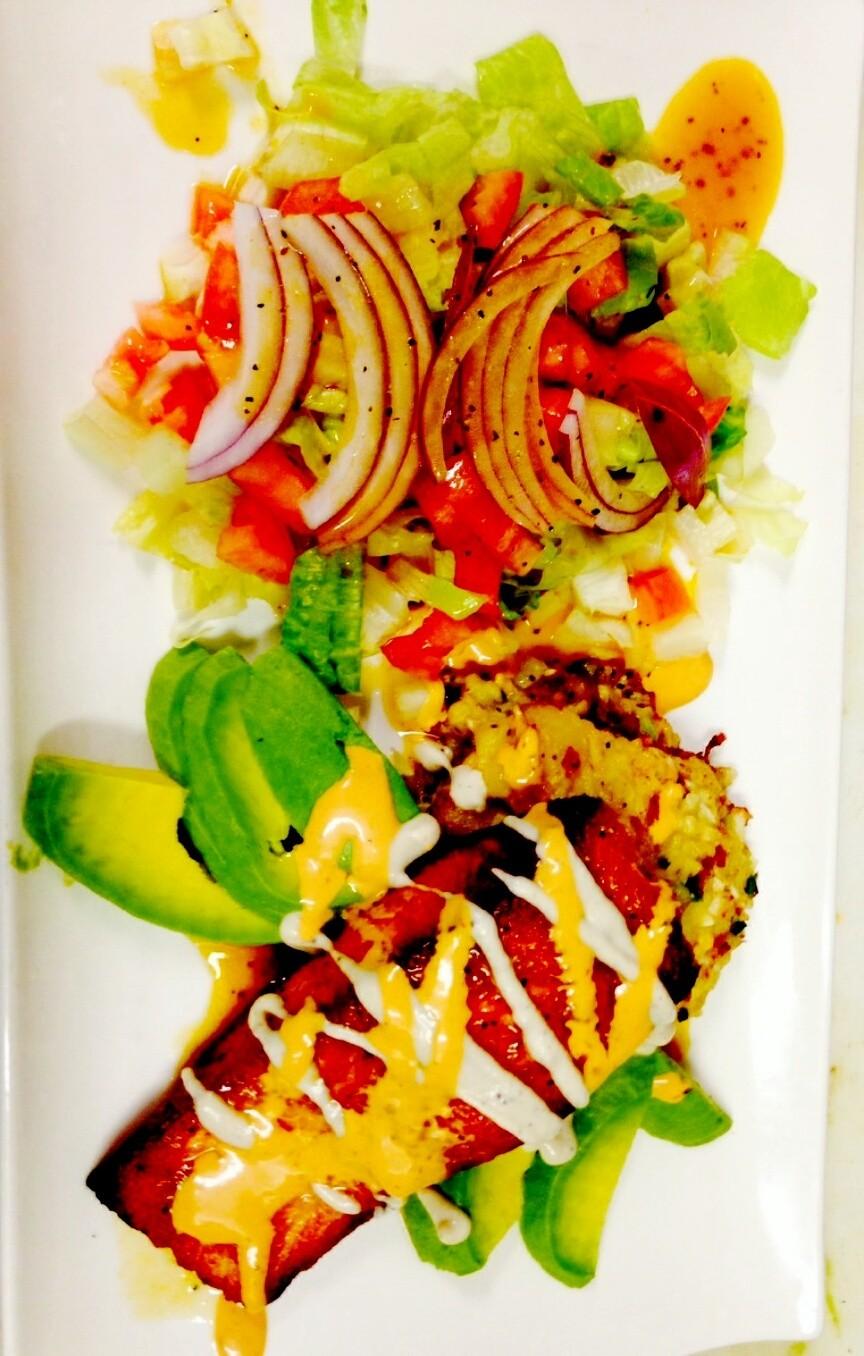 pan seared salmon and mexican salad