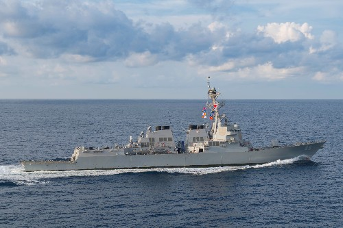 U.S. warship sails in disputed South China Sea amid trade tensions