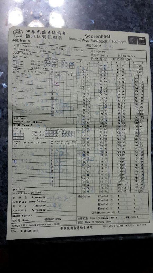 今年第一場籃球記錄表,竟然是黃色的(>﹏<)