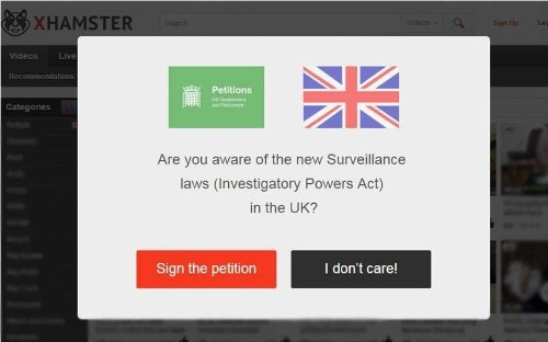 Porn website xHamster sends UK visitors to petition against Snoopers' Charter