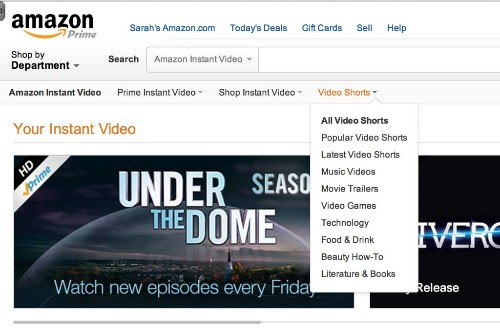"""Amazon Rolls Out A YouTube-Like """"Video Shorts"""" Section On Instant Video"""