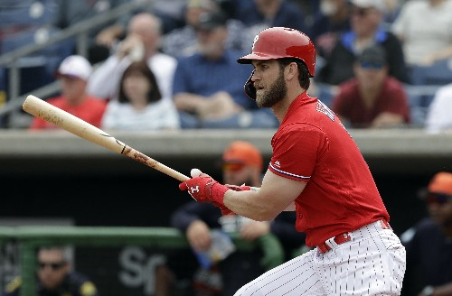 Bryce Harper gets his 1st hit of spring training