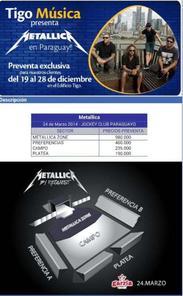 Entradas a Metallica en Py