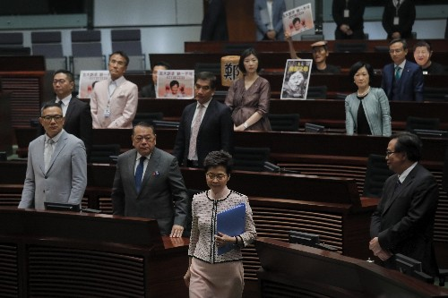 Chaos as Hong Kong lawmakers thwart leader's annual address