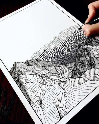 Artist Draws Countless Lines and Dots to Capture the Majestic Beauty of Mountains