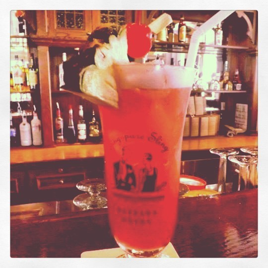 An original Singapore Sling from the Raffles Hotel