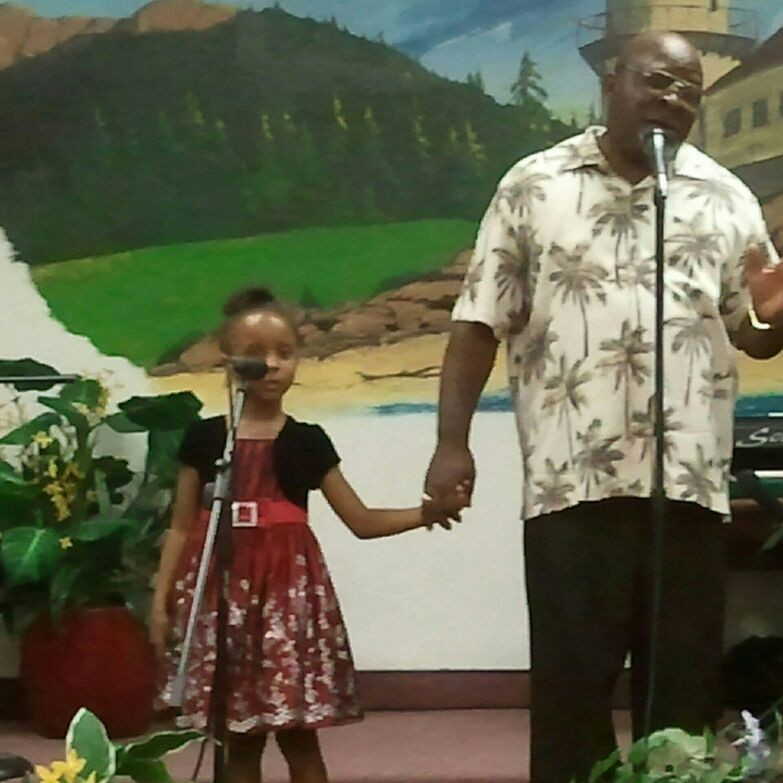 Xiona joining her grandfather with the praise and worship team at Full Of Faith Christian Center in Pomona, CA