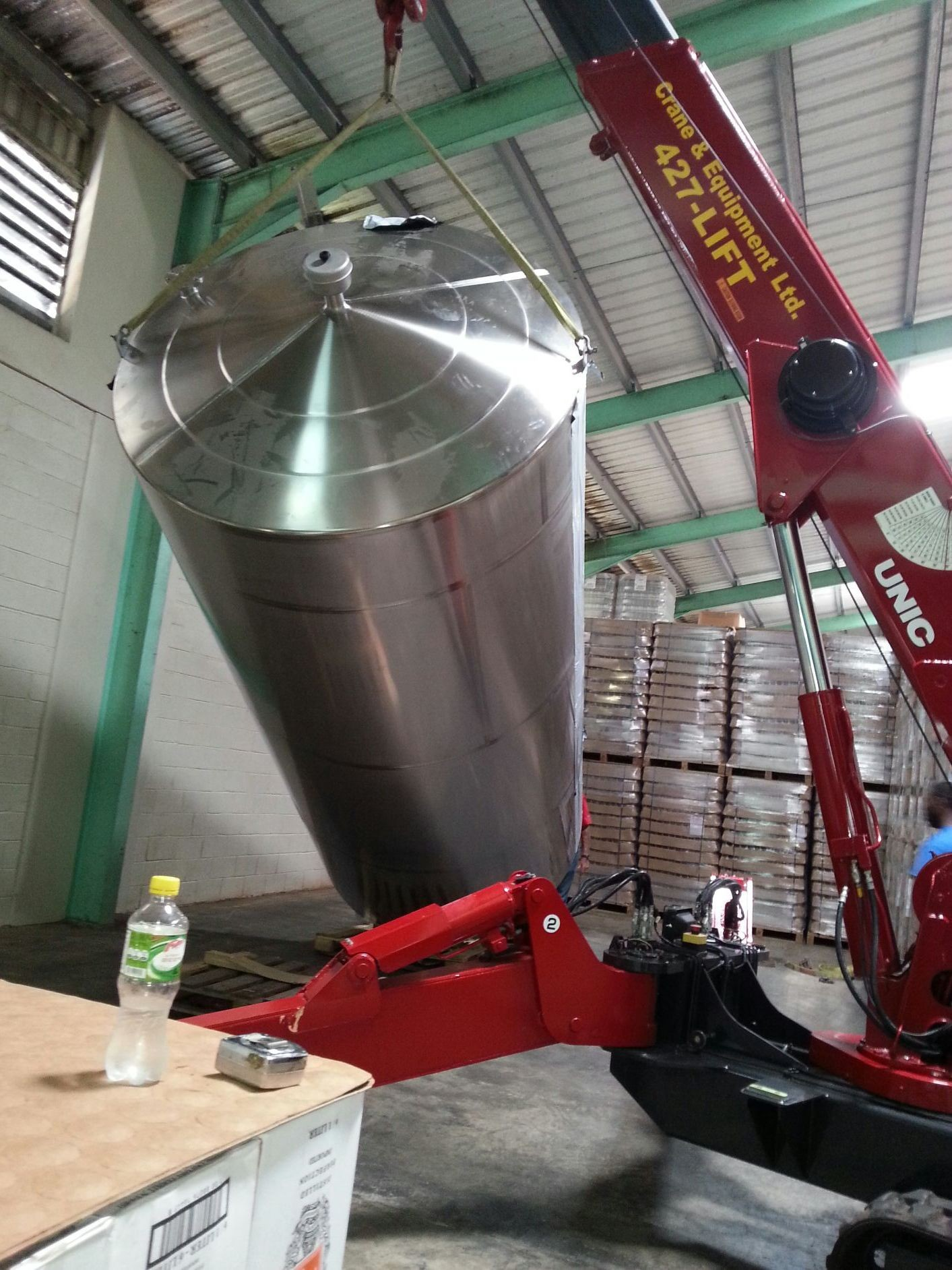 3 stainless steel storage tanks installed at Foursquare Rum Distillery.Barbados.