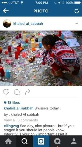 Staged picture from Brussels bombings prompts ethics debate