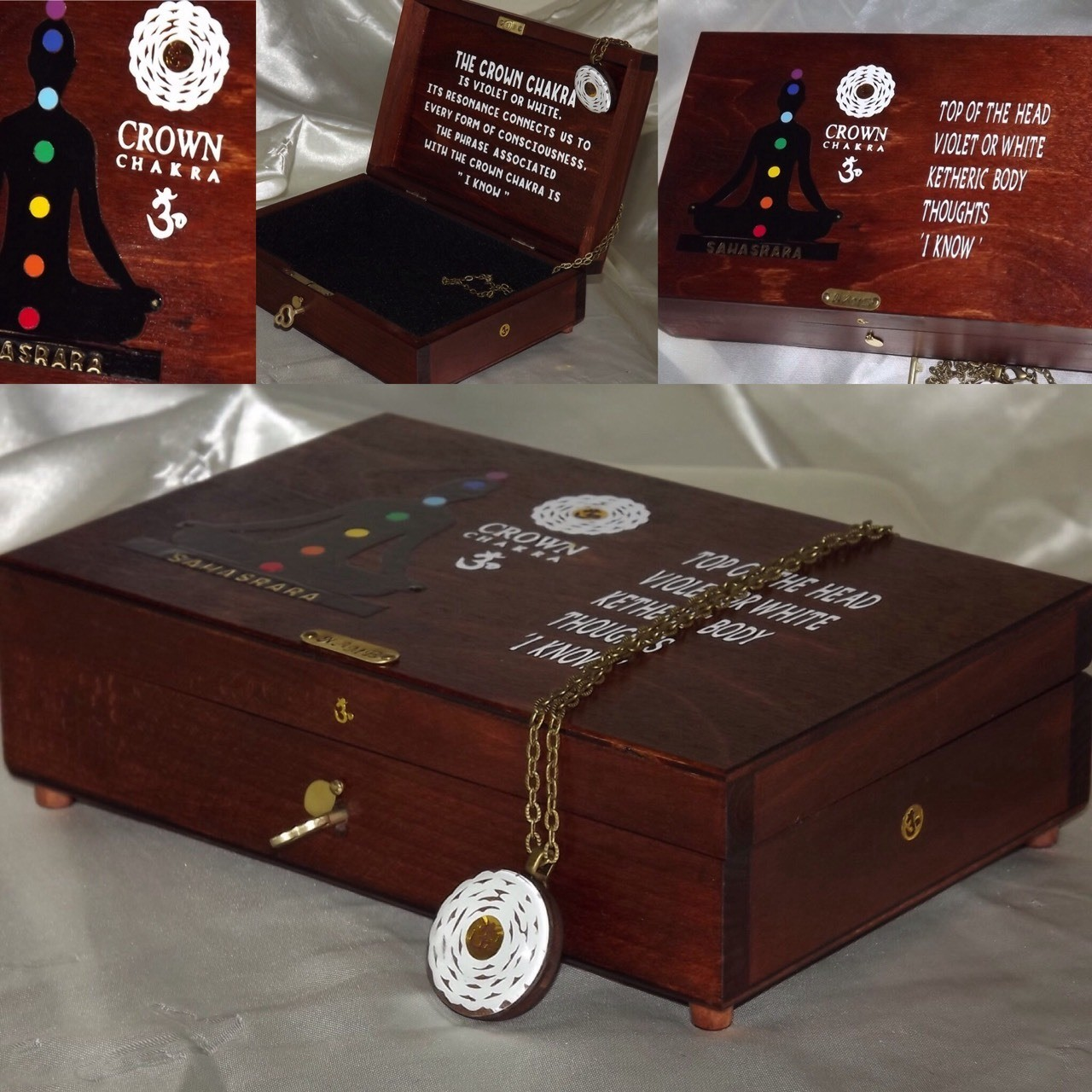 An AWESOME CROWN CHAKRA WOODEN LOCK BOX with a matching WALL PLAQUE and Crown Chakra PENDANT.