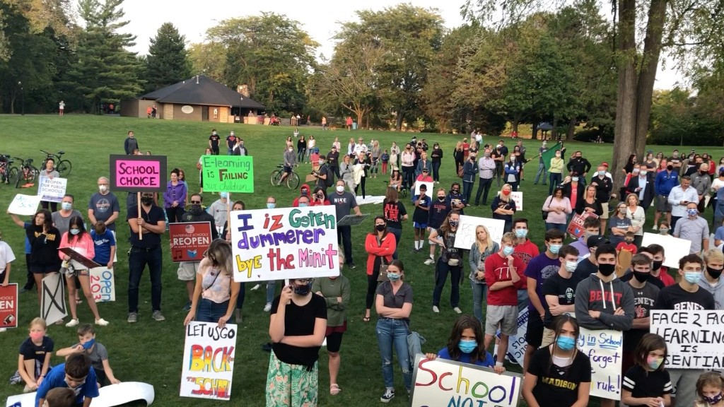 Open the schools rally in Naperville